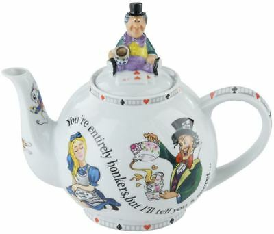 """Cardew Alice in Wonderland 4 cup Mad Hatter's Tea Party """"You're Bonkers"""" teapot"""