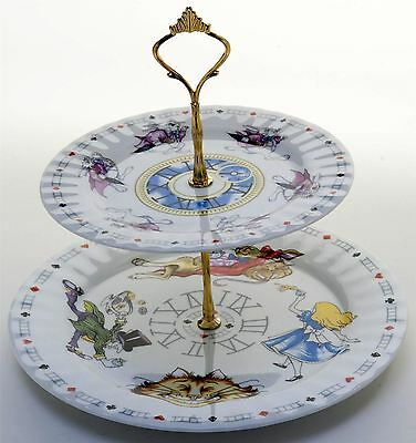 New Paul Cardew Alice in Wonderland 2 tier plate tea party cupcake cake stand