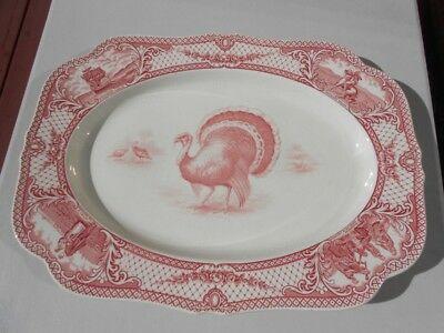 Vintage Crown Ducal Colonial Times Pink Red Lg Thanksgiving Turkey Platter 20""