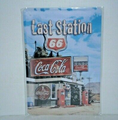 CCRS46 Coca - Cola Last Station 66 Metal Sign New 30 cm H X 20 cm W