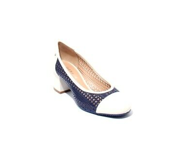 e142475d480e Isabelle 173m Navy White Perforated Leather Heel Round Toe Pumps 39.5   US  9.5