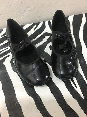 girls tap shoes size 11 1/2 Black Patton Leather