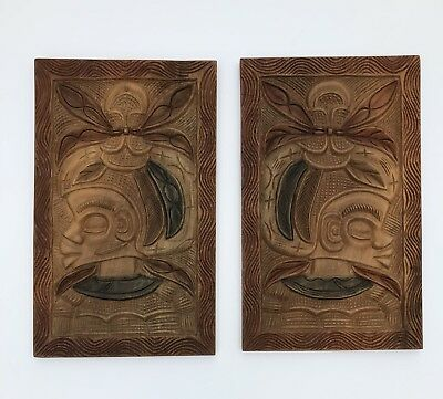 "Handcarved Wooden African Artwork Pictures 24"" x 14-1/2"" Set Of 2"