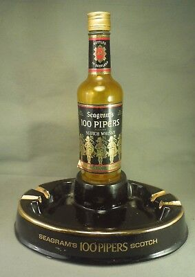 Seagrams 100 Pipers Blended Scotch Whisky Bottle Ashtray Vintage Store Display