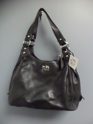COACH Black Solid Leather Madison Maggie Casual Shoulder Bag Purse Size M B4055