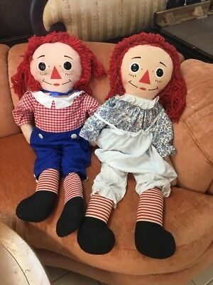 Vintage Pair of Large Raggedy Ann And Andy Dolls Late 1960's Knickerbocker