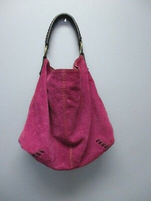 LUCKY BRAND Pink Purple Suede Magnetic Top Closure Hobo Shoulder Purse B3569