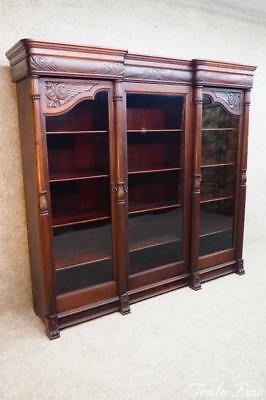 R.J. HORNER MONUMENTAL 1860's Antique Solid Mahogany Bookcase Display Cabinet