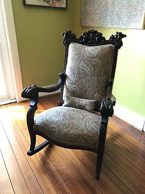 Ornate Antique Gothic-Style Rocking Chair - Carved Griffins and Decorative