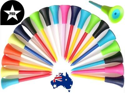 100 Golf Tees Top Quality Durable Plastic and Non-Slip Rubber 83mm- FREE POSTAGE