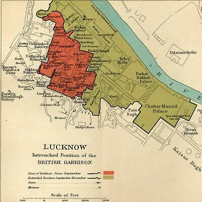Lucknow British Garrison India military Gumti 1909 detailed old color litho map