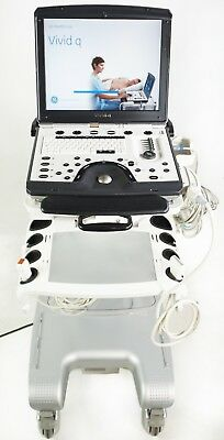 Ge Vivid Q Ultrasound System W/ Probe And Ge Deluxe Safelock Cart