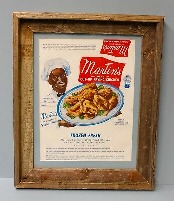 Vintage MARTIN'S CHICKEN WRAPPER 1950s Unused Framed Black Americana Advertising