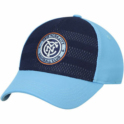 4a758807299 adidas New York City FC Youth Navy Light Blue Authentic Structured Flex Hat