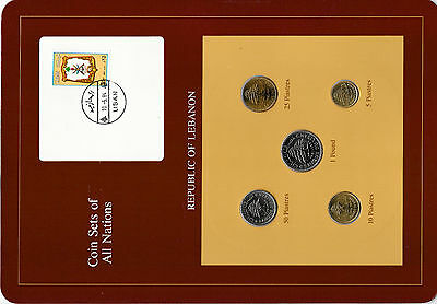 Coin Sets of All Nations Lebanon w/card UNC 1975-1981 50 Piastre 1978 1 Livre 81