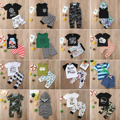 US Newborn Kid Baby Boy Girl 2pcs Clothes Jumpsuit Romper Short Pants Outfit Set