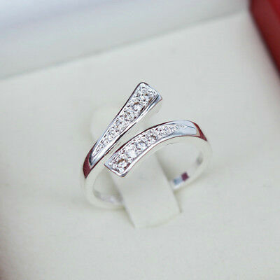 925 Silver Plated Rings Finger Band Adjustable Ring Fashion Women's Jewelry