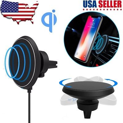 Qi Wireless Car Charger Charging Magnetic Mount Holder Dock For iPhone X 8 Plus