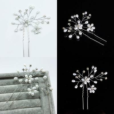 Bridal Wedding Headdress Pearl Flowers Crystal Hairpin U-shape Hair Clip AU
