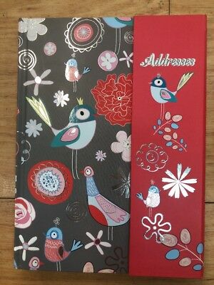 GREY BIRDS A5 Address Book 200 x 165mm Flip Lock