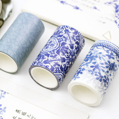 Blue White Porcelain Texture Self Adhesive Washi Tape DIY Dairy Label Stickers