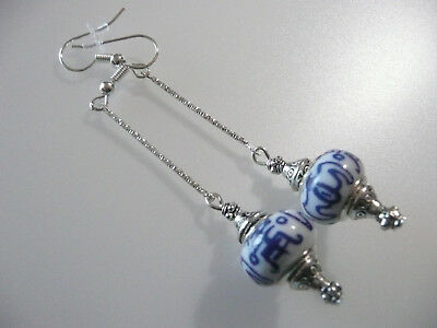 Vintage Art Deco Style Ancient Caligraphy Ceramic Long Earrings Boho Prom Party