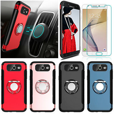 For Samsung Galaxy J7 V/Prime/Sky Pro Kickstand Ring Case With Screen Protector