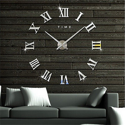 DIY 3D Wall Clock Roman Numerals Large Mirrors Surface Luxury Big Art Clock HLL