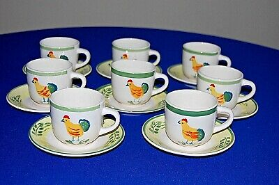 Scotts of Stow set of 8 Chicken Pattern Cups and Saucers. VGC.