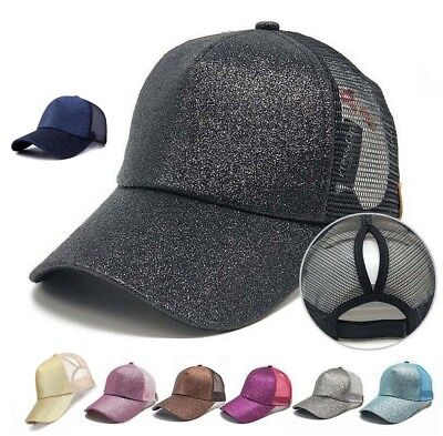 Women's Ponytail Glitter Cap Messy Buns Adjustable Mesh Baseball Hat