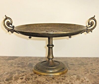 Antique Victorian Ornate Bronze Figural Compote Centerpiece