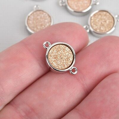 2 CHAMPAGNE Druzy Gemstone Charms SILVER round connector link 14x10mm chs4487