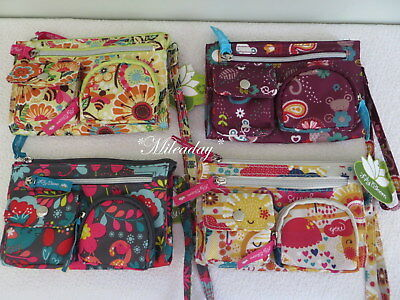 131194b7fa08 Lily Bloom Kim Wristlet Spring Shower Cat   Mouse Playful Garden Busy Bee  NWT