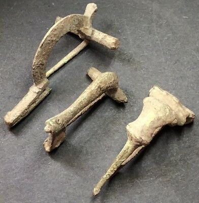 *RECOMMENDED* 3 X Ancient Imperial Roman Fibula Brooches. Uncleaned As Found.
