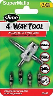 Slime 20088 4-Way Valve Tool With 4 Valve Cores Free Shipping