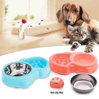 Twin Pet Food Water Feeding Bowl Cat Dog Puppy Double Dish Non Slip Drinking