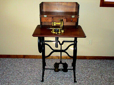 Antique 1871 WHEELER & WILSON TREADLE SEWING MACHINE #3 in CABINET 147 yrs old