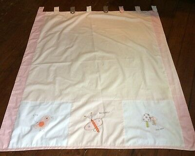 Mamas & Papas Sketchbook Baby Girl Curtains 100% Cotton Faded