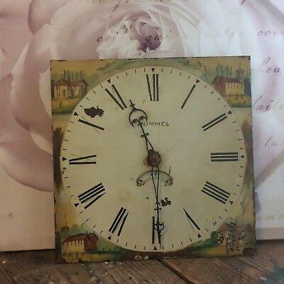 Antique Painted Longcase Clock Face / Dial With Hands