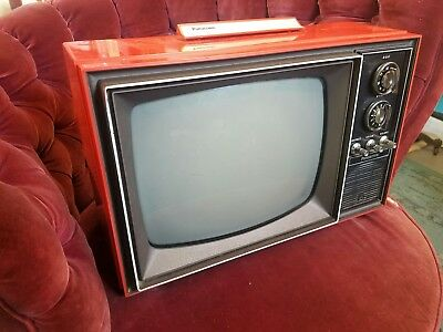"""Vintage Red Panasonic AN-162 TV - Mid Century Modern 12"""" black and white"""