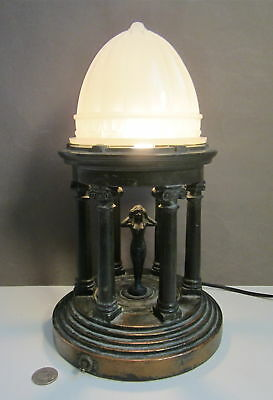 ART DECO EGYPTIAN GREEK REVIVAL NUDE ARMOR BRONZE Table Lamp Glass DOME Shade