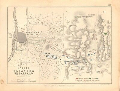 1855 Antique Map/Battle Plan- Battle of Talavera, 27th/28th July 1809