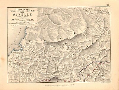 1855 Antique Map/Battle Plan- Attack on the Nivelle, 10th November 1813