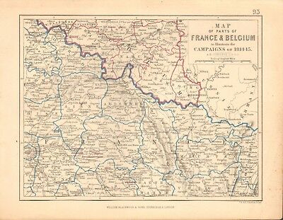 1855 Antique Map/Battle Plan- Map of France & Belgium, campaigns of 1814, 1815