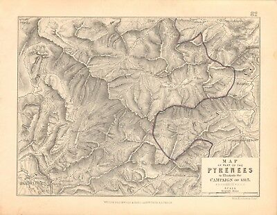 1855 Antique Map/Battle Plan- Map of part of the Pyrenees, campaign of 1813