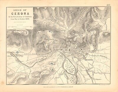 1855 Antique Map/Battle Plan- Siege of Verona, May to October 1809