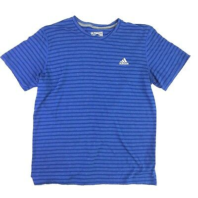 Adidas Climalite Mens Blue Striped Short Sleeve Athletic Ultimate Tee Shirt XL