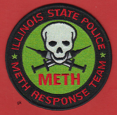 ILLINOIS STATE POLICE METH RESPONSE DRUG TEAM SHOULDER  PATCH skull / needles