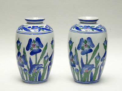 Pair Of Chinese Republic Period Blue Mark Floral Decorative Porcelain Vase
