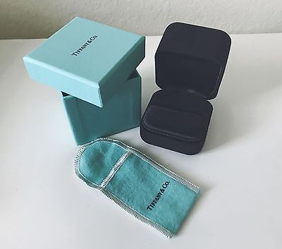 Tiffany & Co Authentic Large Suede Ring Box, Outer Box, And Pouch.